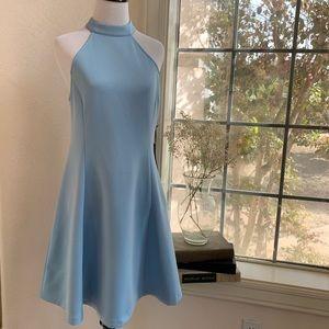 Lulus light baby blue halter neckline flare dress